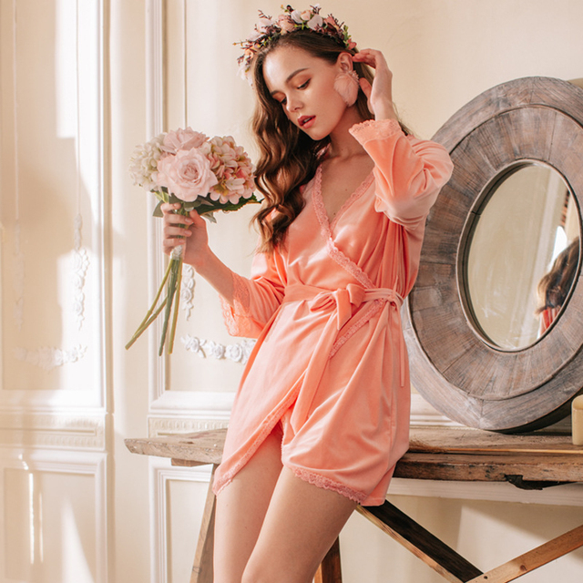 JULYS SONG Robe femmes chemise de nuit or velours vêtements de nuit couleur unie élégant dentelle pyjamas printemps automne une pièce chemise de nuit