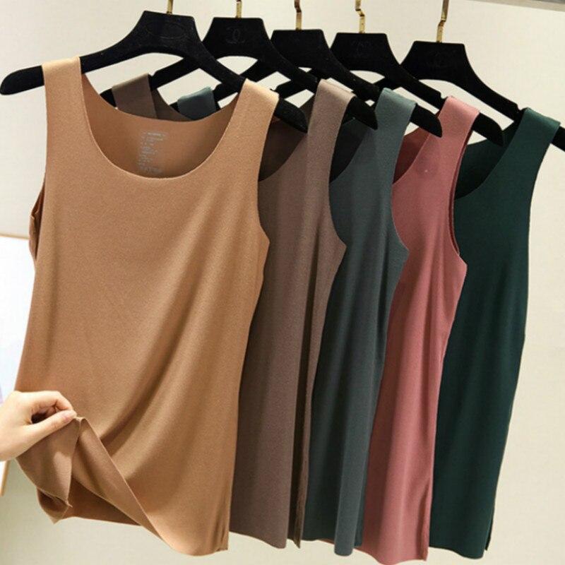 2020 Spring Summer Thread Cotton Tank Tops Women Round Neck Loose T Shirt Ladies Vest Singlets Camisole Cotton Ladies Vest