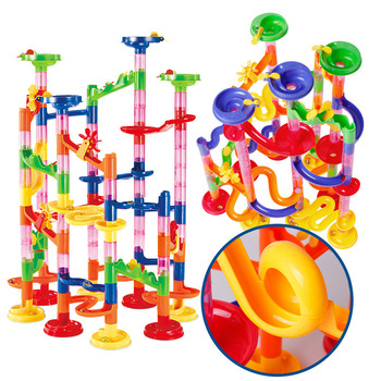Camera Track Ball Bearing Building Blocks Children'S Educational Assembly Toy 105pcs Stereo Maze Pipeline DIY Domino Game
