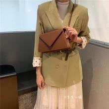купить Fashion Solid Color Small Flap Bags Women Shoulder Bags Casual Pu Envelope Bags Women Crossbody Bag Lady Messenger Purses по цене 1367.1 рублей