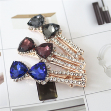 Elegant Women Shiny Crystal Hair Clips Headwear Colorful Diamond Bow Shape Hairpins Accessories for Girls