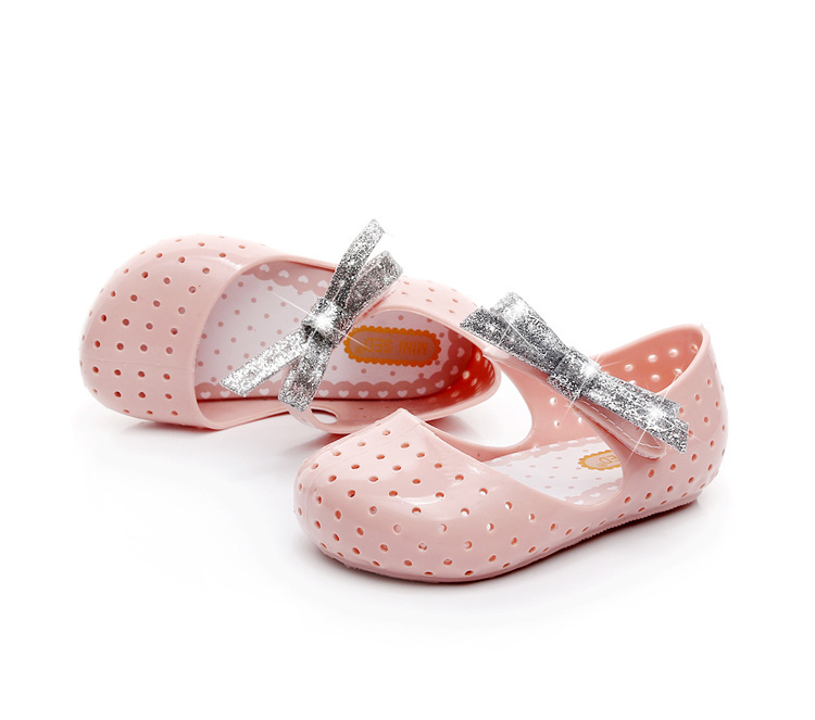 2018 Summer New Glitter Bow Fish Mouth Boy Girl Jelly Sandals Non-slip Soft Bottom Shoes Toddler Sandals  Kids Sandals