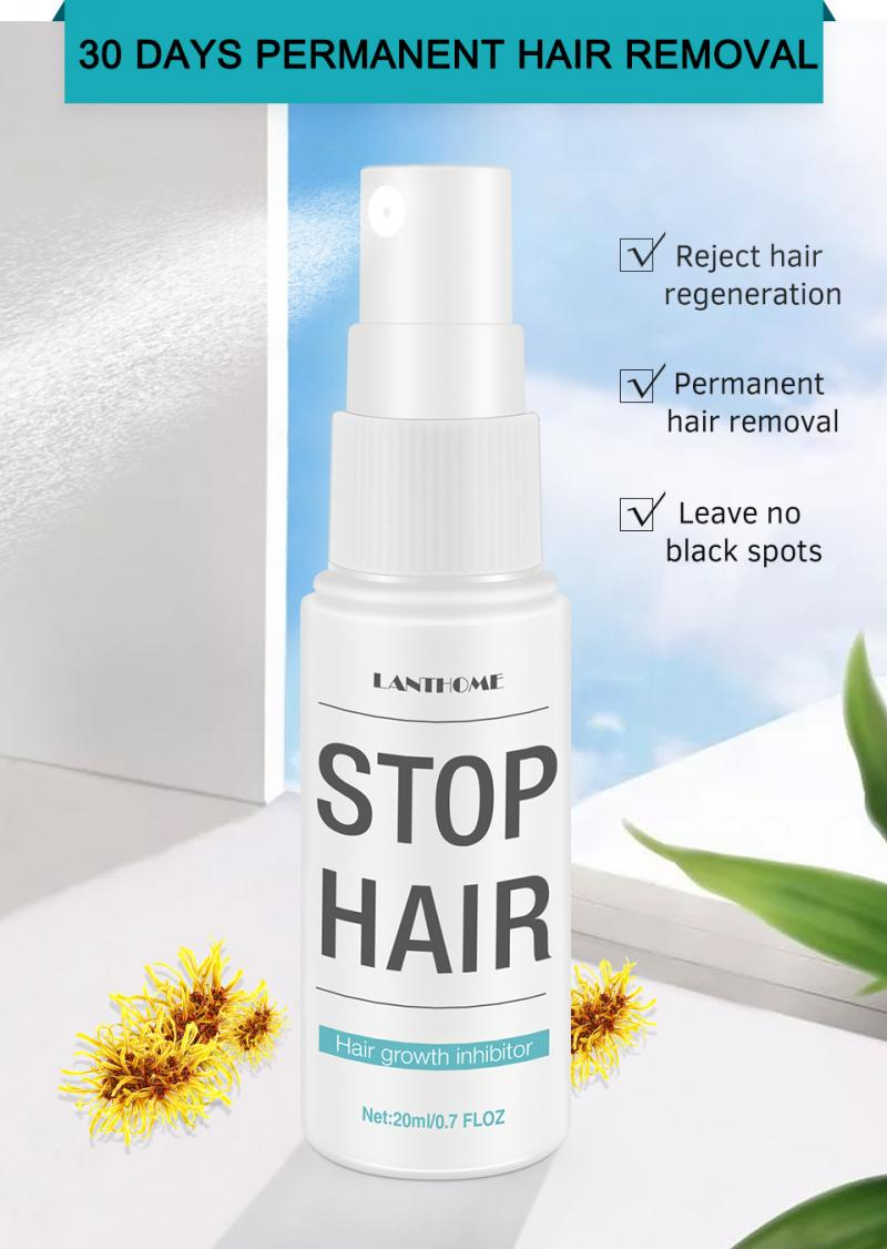20ml Permanant Hair Growth Removal Inhibitor Spray Beard Bikini Intimate Legs Body Armpit Painless aloe Facial Stop Hair TSLM1 1