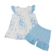 Boutique sky blue floral flutter sleeve top pure icing short