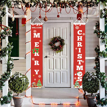 30*180CM Merry Christmas Porch Sign Decorative Door Banner Home Hanging Xmas Flag Decorations