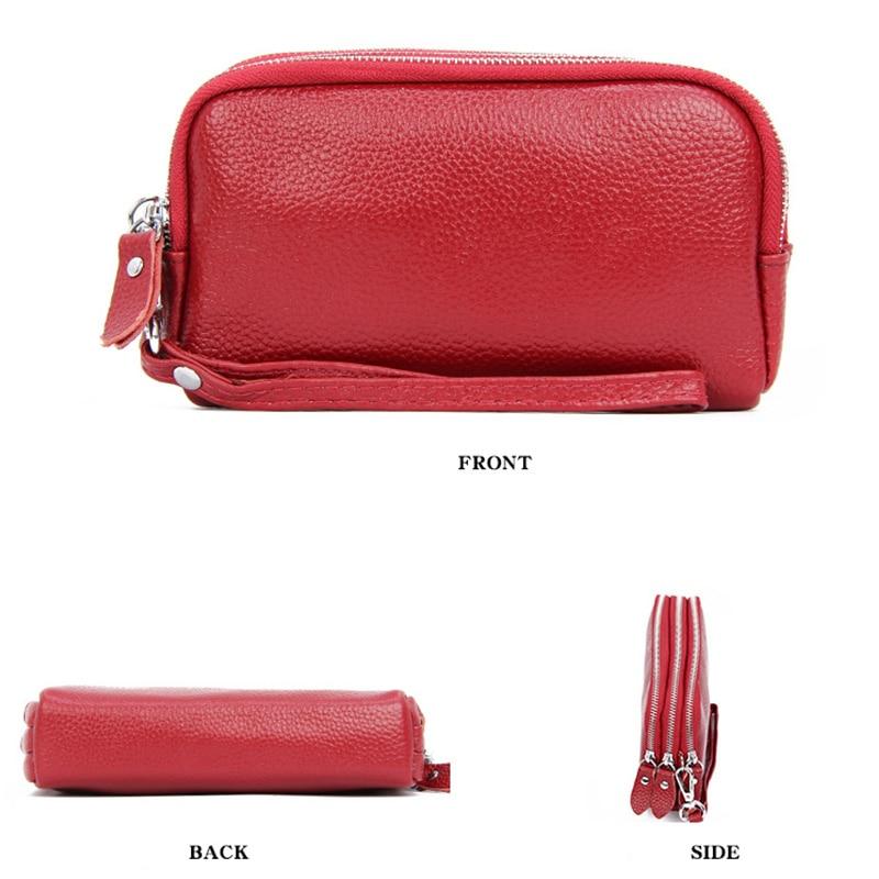 Купить с кэшбэком Genuine Leather Wallets for Women 2019 Ladies Mini Long Clutch Double Zipper Phone Purse Credit Card Wrist Money Organizer Bags