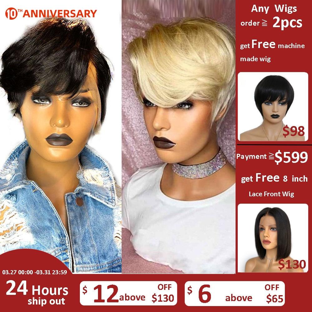 Hesperis 613 Pixie Cut Wig Pre Plucked 13x6 Short Human Hair Wigs Brazilian Remy Bob Lace Front Wigs For Women Short Bob Cut Wig