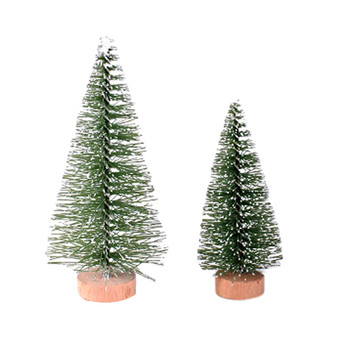 Christmas Tree Mini Pine Tree With Wood Base DIY Home Table Top Decor Christmas Tree Santa Snow Frost Village House Free Ship image