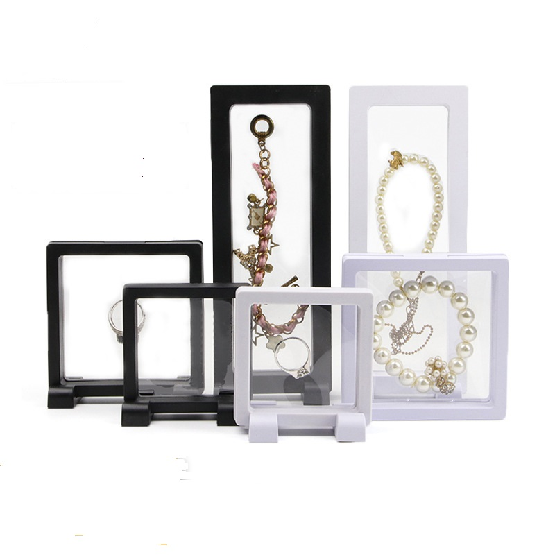 Transparrent  Jewelry  Displays Square 3D Albums Floating Frame Holder Black White Box Jewelry Display Show Case For Wedding