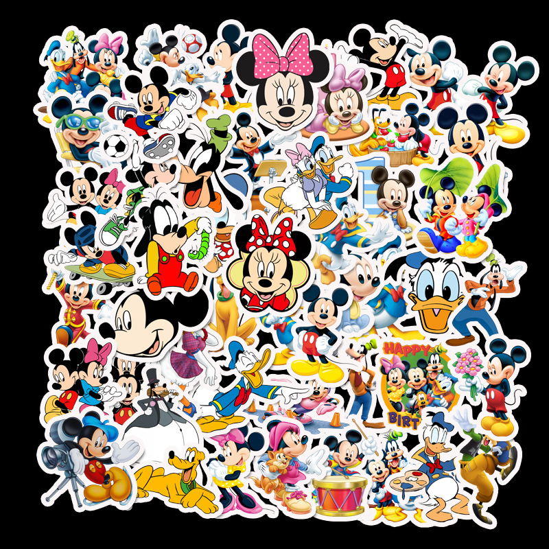 50 Sheets Of Cartoon Mickey Mouse Waterproof Sun Protection Suitcase Guitar Notebook Trolley Case Sticker Stickers