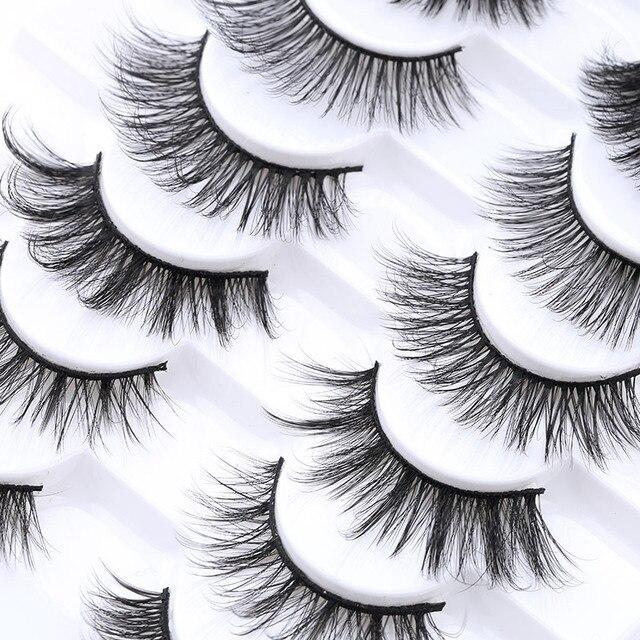 5/8/10 pairs 3D Mink Lashes Natural False Eyelashes Dramatic Volume Fake Lashes Makeup Eyelash Extension Silk Eyelashes 5