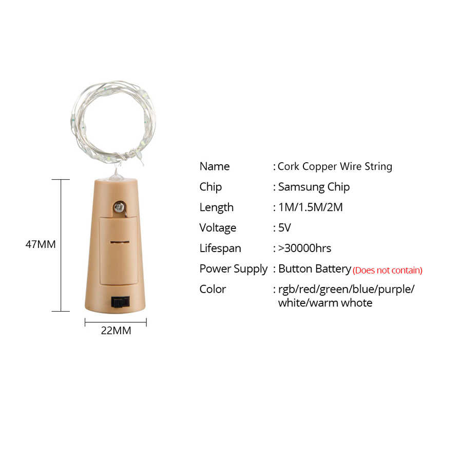 1 メートルと 2 メートルのワインボトルライトコルク Led ストリングライト銅線妖精花輪ライトクリスマスホリデーパーティー結婚式の装飾