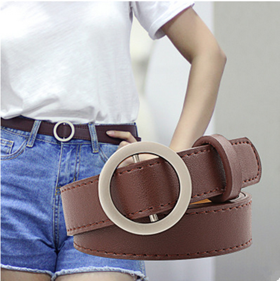 2020 New Hot Ladies Belt With Round Buckle Ladies Casual Solid Color Denim Faux Leather Belt Classic Belt
