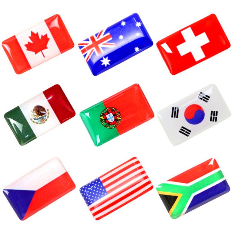 18x10MM World Country Flags Decals National Emblem Car Stickers For Automobiles Motorcycles Interior Steering Styling Decorating