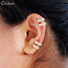 Кристальные серьги для женщин, трендовые маленькие круглые каффы для ушей, позолота и посеребрение, 2 ряда, стразы, клипсы, серьги без пирсинга
