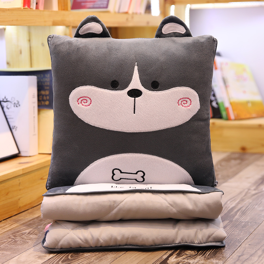 Stuffed Dog Cat Animal Cushion With Ear Plush Cartoon Nap Sleeping 2 In 1 Blanket With Pillow Air Conditioning Quilt Sofa Car