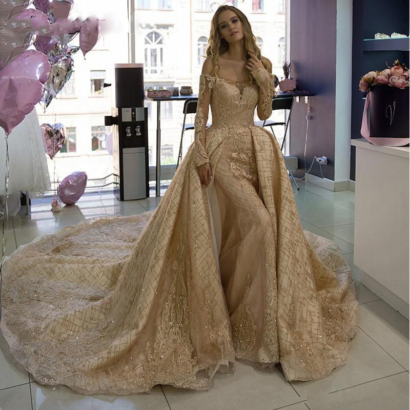Off Shoulder Champagne Mermaid Prom Dresses With Detachable Train Lace Long Sleeves Sequined Luxury Evening Gowns Formal Dress