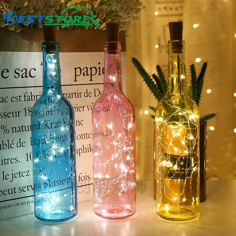 BOBEPD 1M 2M LED Garland Copper Silver Wire String Lights 10 20 LEDs Bottle Stopper Fairy Lights For Holiday Wedding Party Decor