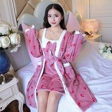 2 шт., теплый фланелевый Халат, зимний халат с цветочным рисунком, плотные ночные рубашки, банный халат, женские пижамы, банный фланелевый Халат, одежда для сна для женщин s