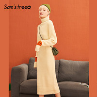 SAM'S TREE Black Solid Minimalist Knitted Dress Women 2019 Winter Apricot Colorblock Sleeve Long Office Ladies Daily Dresses