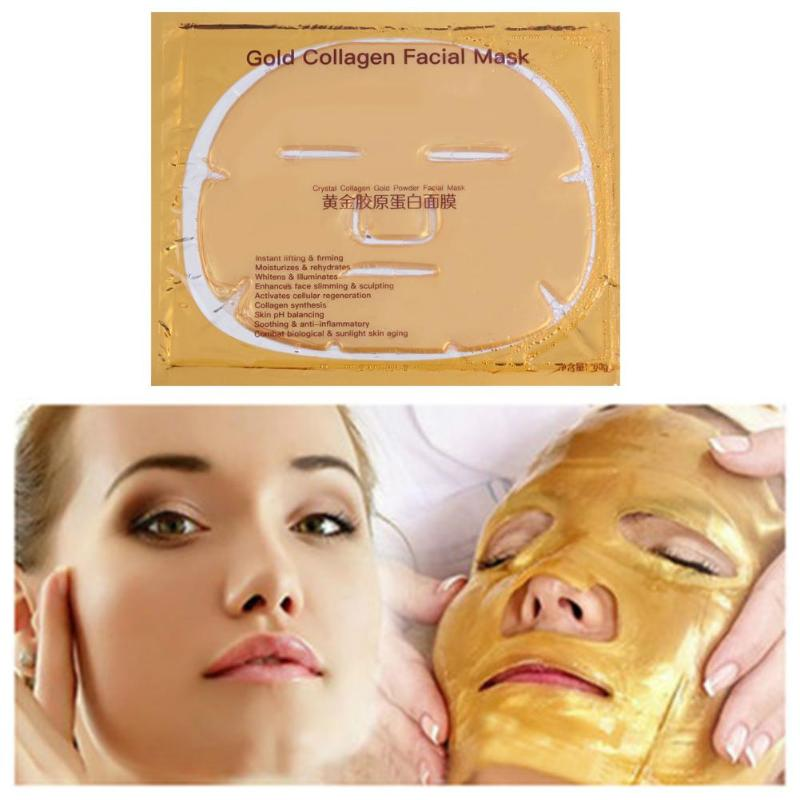 24K Gold Collagen Face Mask Crystal Gold Collagen Facial Masks Moisturizing Whitening Anti-aging Facial Masks
