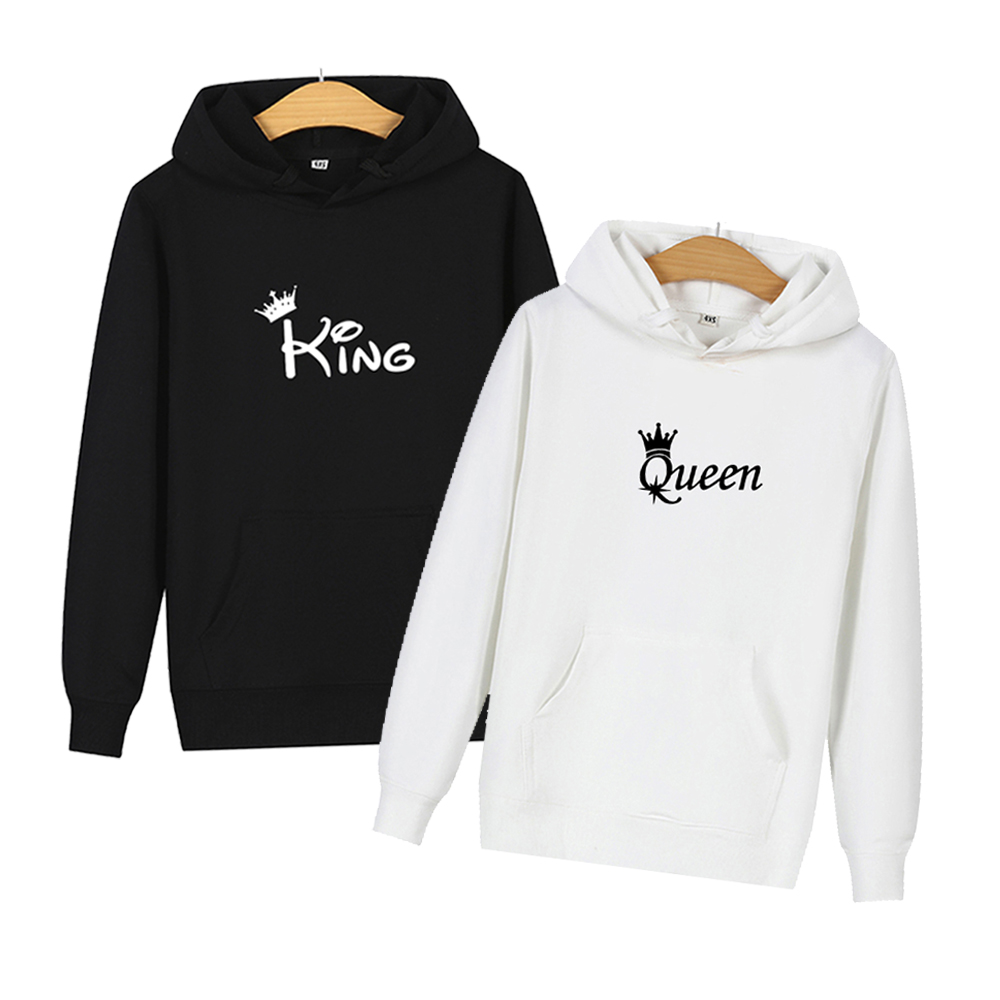 King And Queen Matching Couple Hoodies Women Men Sweatshirt Lovers Couples Hoodies Korean Style Casual Couple Wear Pullover Gift