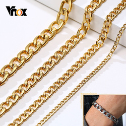Vnox Classic Cuban Chain Bracelets for Men,3/5/7/9mm Width,18/21/23cm Length,Gold Color Solid Stainless Steel Miami Curb Links