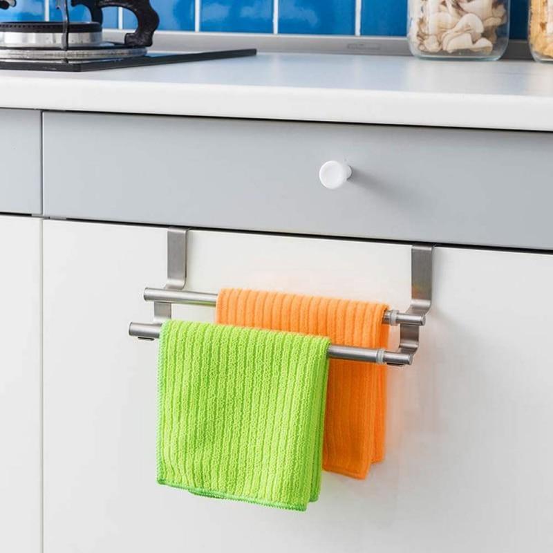 Stainless Steel Double-rod Towel Rack Household Door Rack Bathroom Storage Shelf