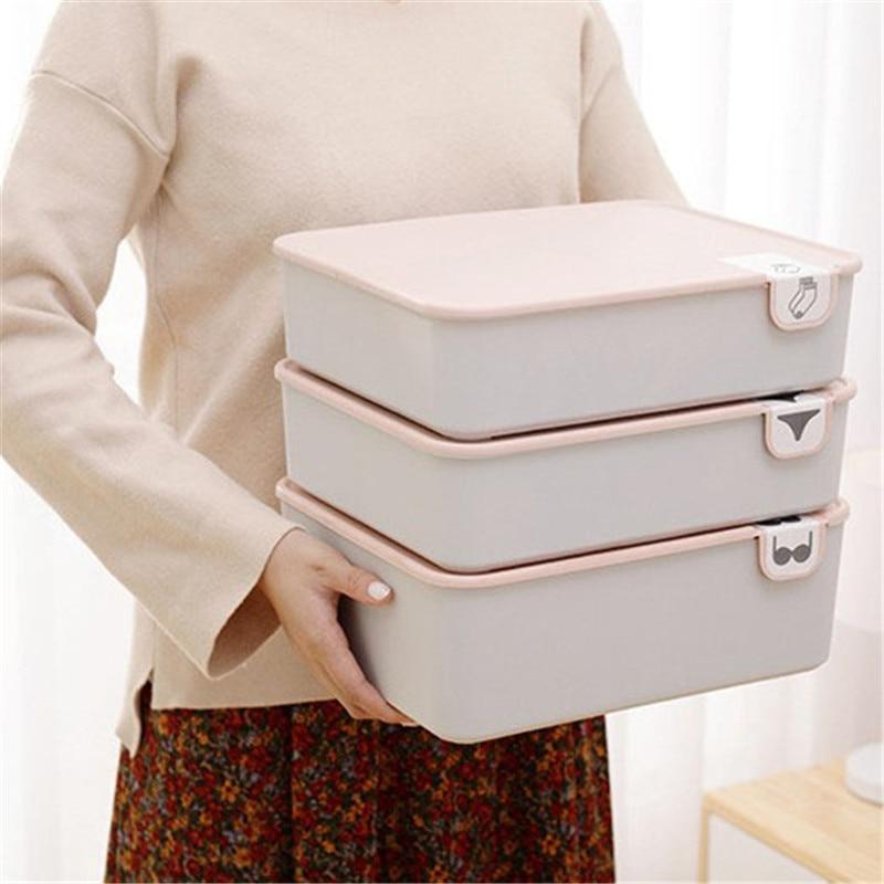 Household Plastic Underwear Storage Box With Mark Compartment Closet Organizer With Cover For Underwear Socks Bra Organizer