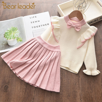Bear Leader Girls Winter Clothes Set Long Sleeve Sweater Shirt Skirt 2 Pcs Clothing Suit Bow Baby Outfits for Kids Girls Clothes children outfits one piece sweater suit for girls knitted cardigan autumn winter girls clothing set kids cotton 2 pcs clothes