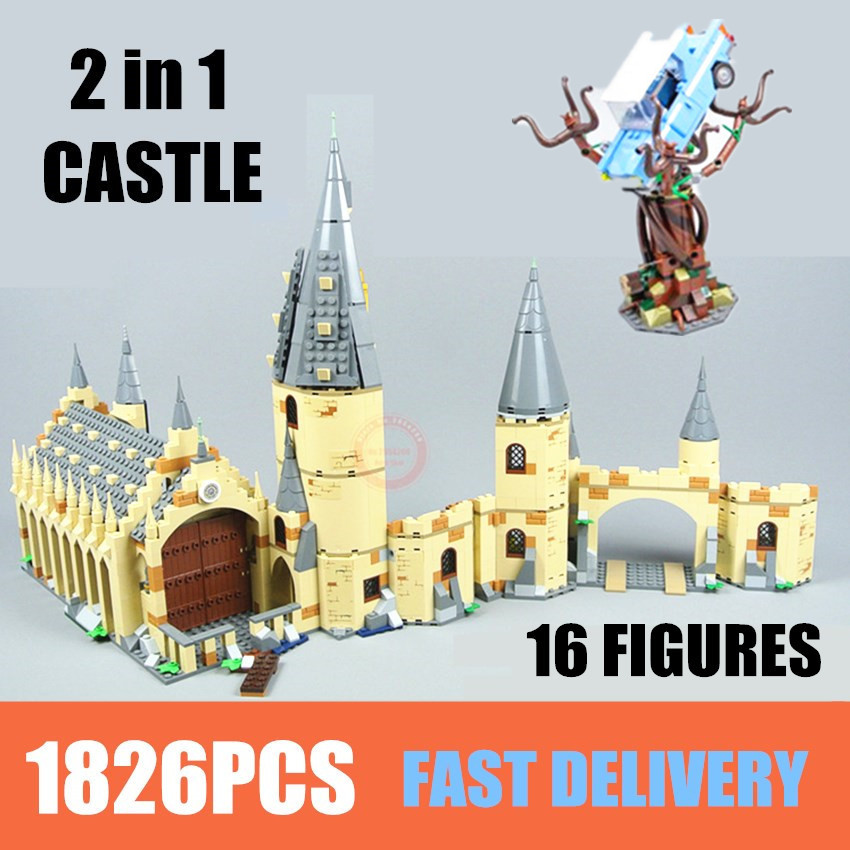 New Movie Hogwarts Great Wall Set Fit Castle Figures Building Blocks Bricks Kid Toy 75953 + 75954 Gift Boy Birthday Christmas