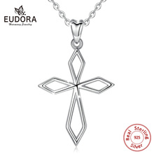 Eudora 925 sterling silver Simple Cross pendant Necklace Christian Cross Necklaces Minimalism Silver Jewelry for Women Men D465 stylish christian cross w eye style decoration pendant necklace silver
