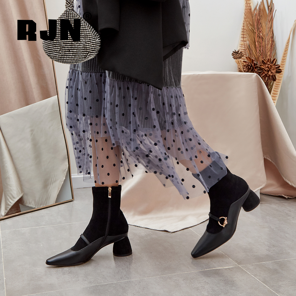 Buy RJN Elegant Women Boots Matel Decoration High Quality Genuine Leather Square Toe Med Heel Zipper Shoes Ladies Ankle Boots RO67