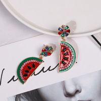 Bright Crystal Fruit Enamel Watermelon Drop Earrings For Women Fashion Jewelry Y4QB
