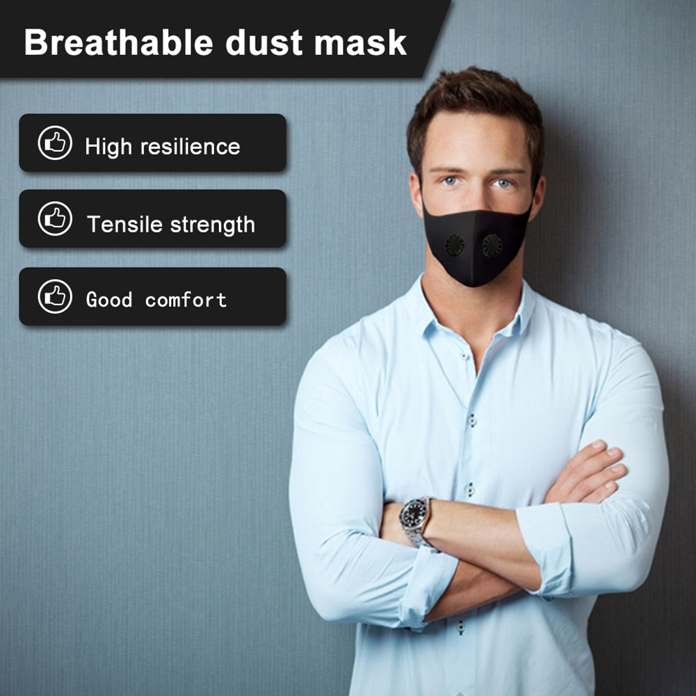 Sun Protection Double Breathing  Mouth Mask Elastic Anti Dust Reusable Filter Pad Black Unisex Air Pollution Adult Outdoor