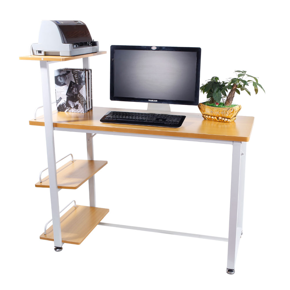 [UK Warehouse] High Strength Home Office Computer Desk With 4-Tier Storage Shelves Wood Color Free Shipping UK Drop Shipping