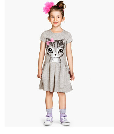 H5c04c86ed22f4ffc8c9794055b85e992Z Kids Dresses Girls 2017 New Fashion Sweater Cotton Flower Shirt Short Summer T-shirt Vest Big For Maotou Beach Party Dress