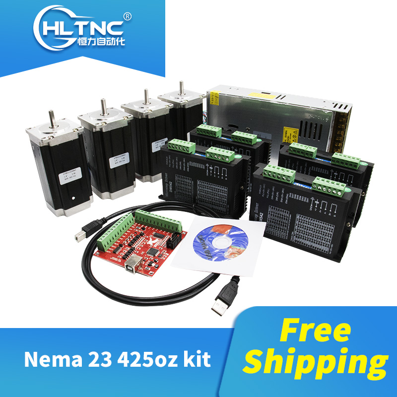 Free shipping 4 pcs DM542 Stepper motor driver+ 4 pcs Nema23 425 Oz in motor+1 set mach3+1 pcs 350W 36V power supply for CNC