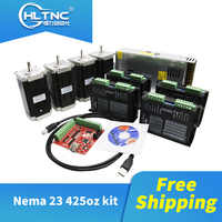 Free shipping 4 set DM542 Stepper motor driver+Nema23 425 Oz-in motor+4 axis mach3/5 axis DB25 board+1 pcs 350W36V power for CNC