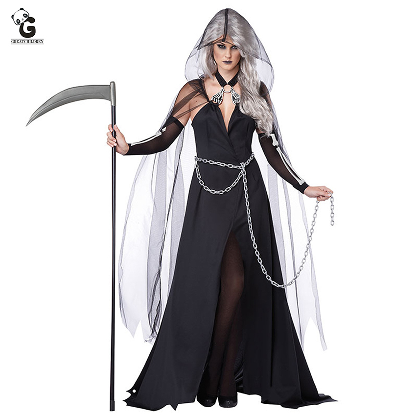 Horror Witch Costumes Black Queen <font><b>Halloween</b></font> Clothes <font><b>Sexy</b></font> Witch <font><b>Dress</b></font> <font><b>Halloween</b></font> Costumes for <font><b>Women</b></font> Scary Ghost Demon Costume image