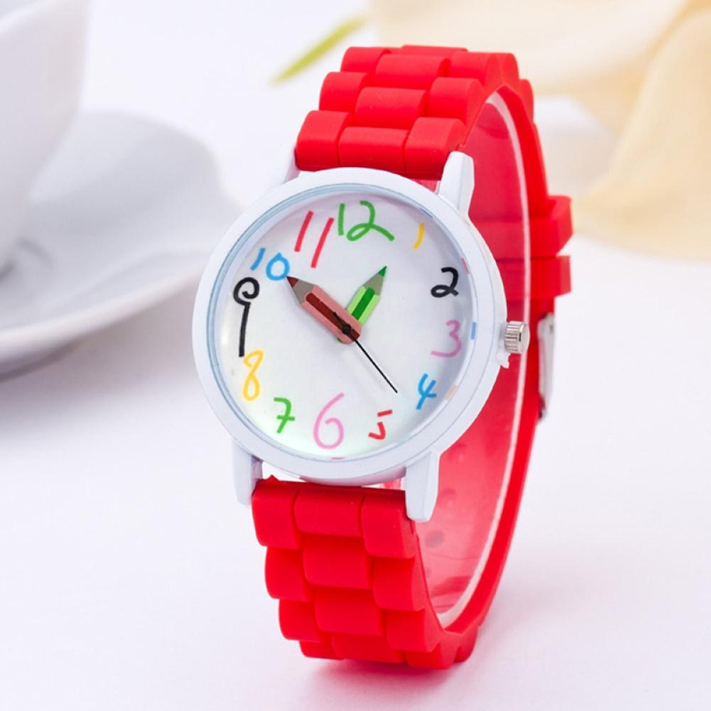 Hot Selling Unisex Fashion Silicone Watch Arabic Numeral Pencil Shape Analog Quartz Wrist Watch Kids Watch Children Детские часы
