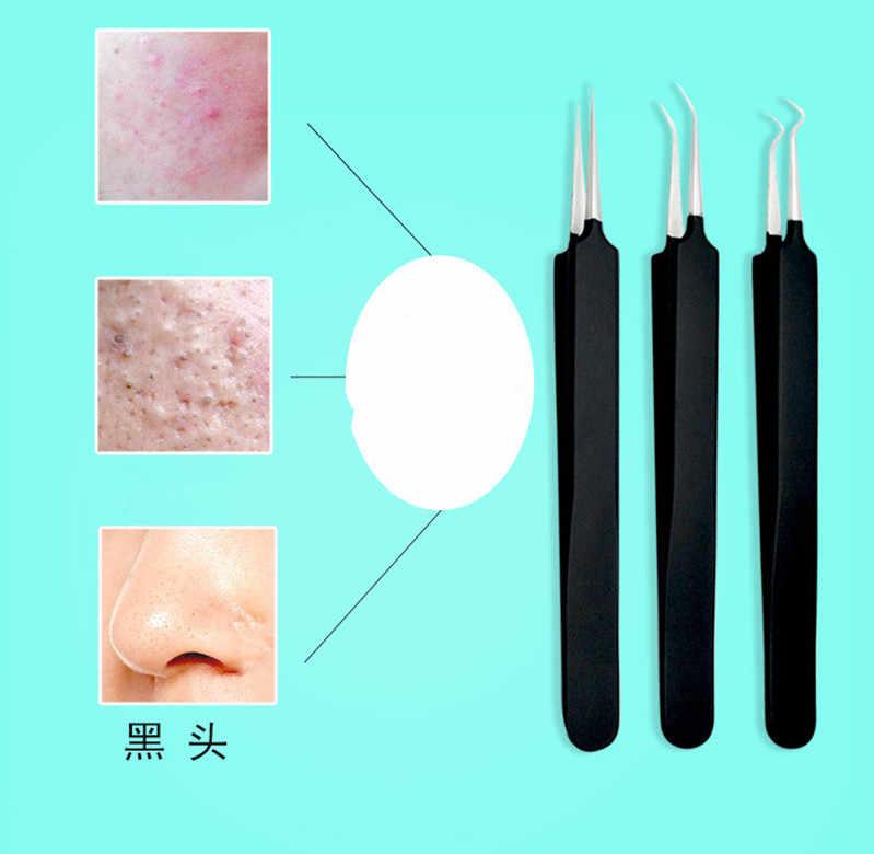 1 pc にきびパッチリムーバー針ステンレス鋼にきび除去キット曲げ針ピンセット傷抽出顔ツール