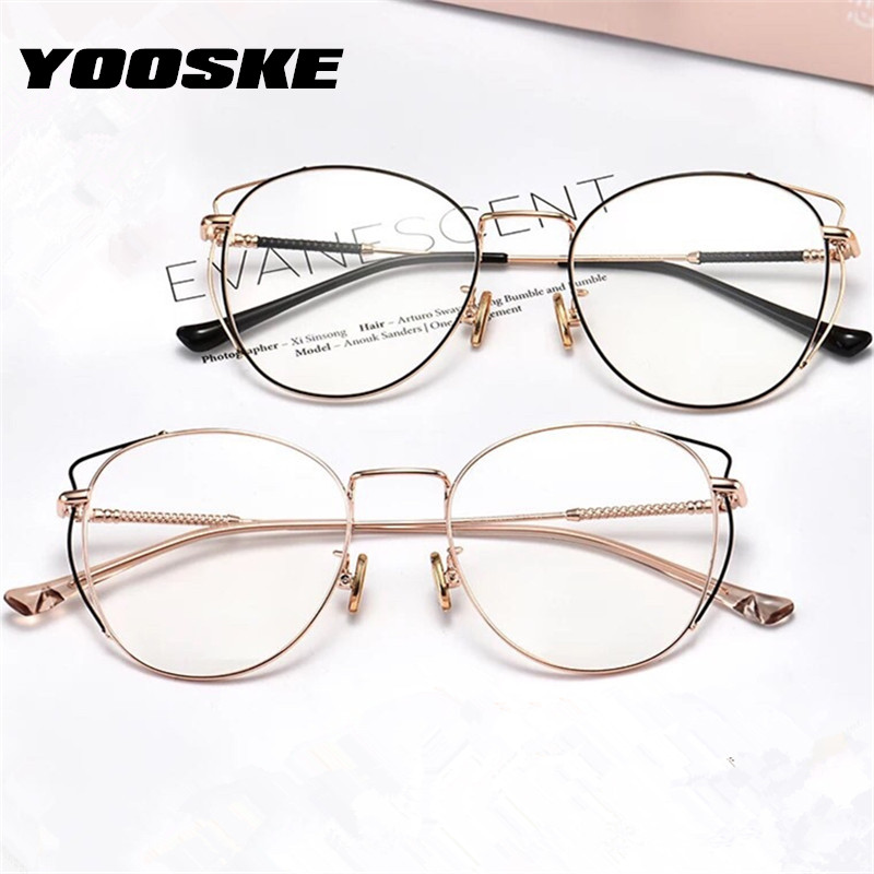 YOOSKE Anti Blue Light Cat Eyes Glasses Frames Metal Round Optical Spectacl For Women&Men Computer Eyeglasses Eyewear