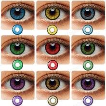 Lentillas de colores para Cosplay, lentillas de colores para ojos de Halloween, sin prescripción, azul y gris, 1 par
