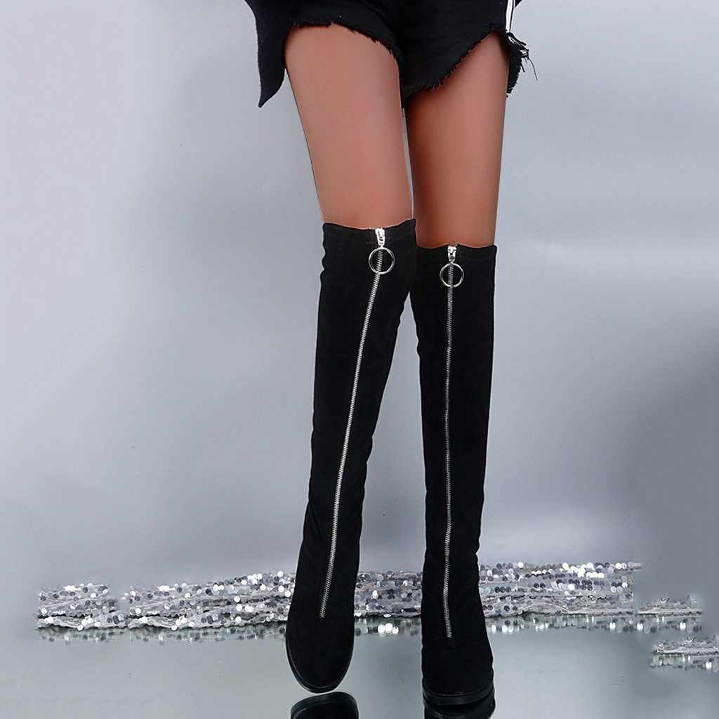 Akın fermuar ön diz yüksek uzun çizmeler kadın kış diz üstü kolye sıcak tutmak Fretwork topuklar seksi bayan botları botas mujer