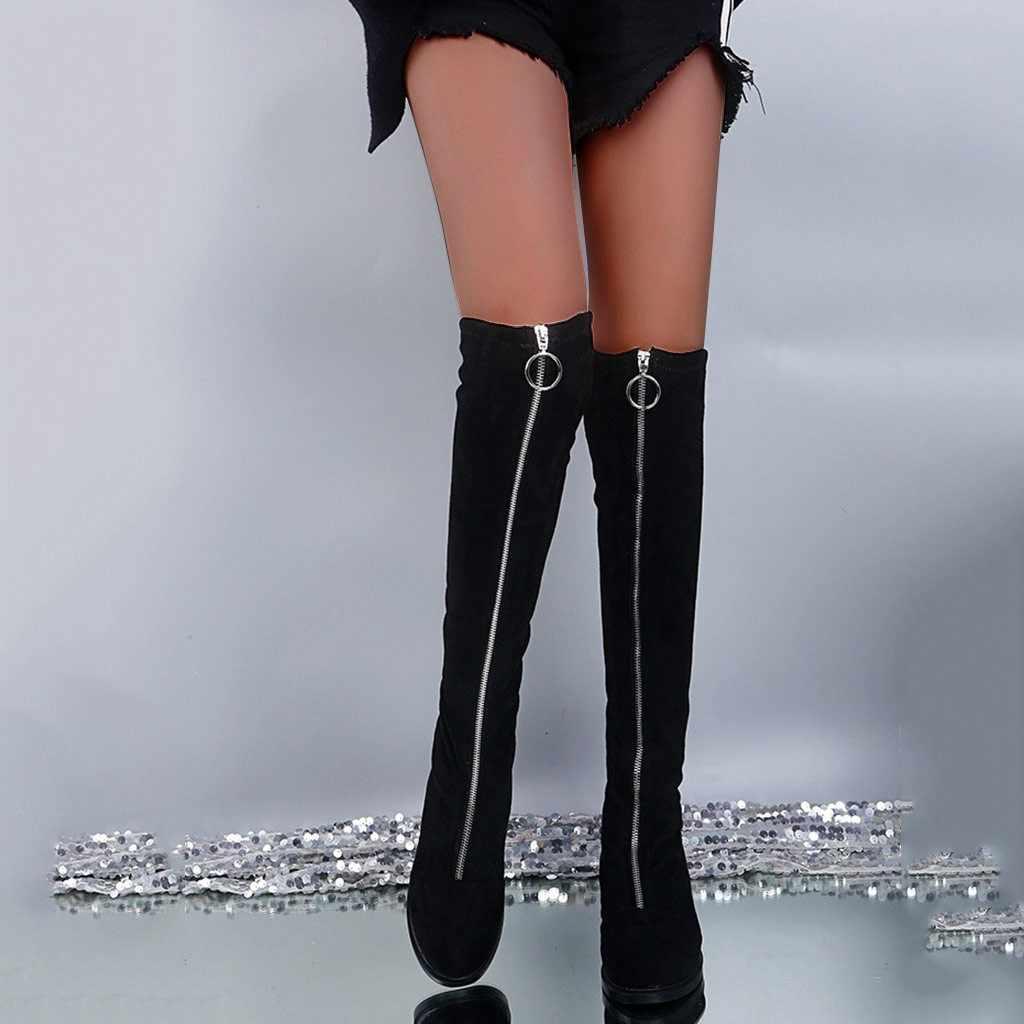 FLOCK ซิปด้านหน้าเข่า-ยาวผู้หญิงฤดูหนาวกว่าเข่าจี้อุ่น Fretwork ส้นสูงรองเท้าส้นสูงเซ็กซี่สุภาพสตรีรองเท้า botas mujer
