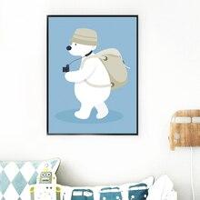 Настенная Картина на холсте мультяшный медведь скандинавские