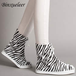 Leqiang дождевые Чехлы для обуви ботильоны резиновые сапоги зебра-полосатый Rainshoes водонепроницаемые чехлы для обуви для Rain