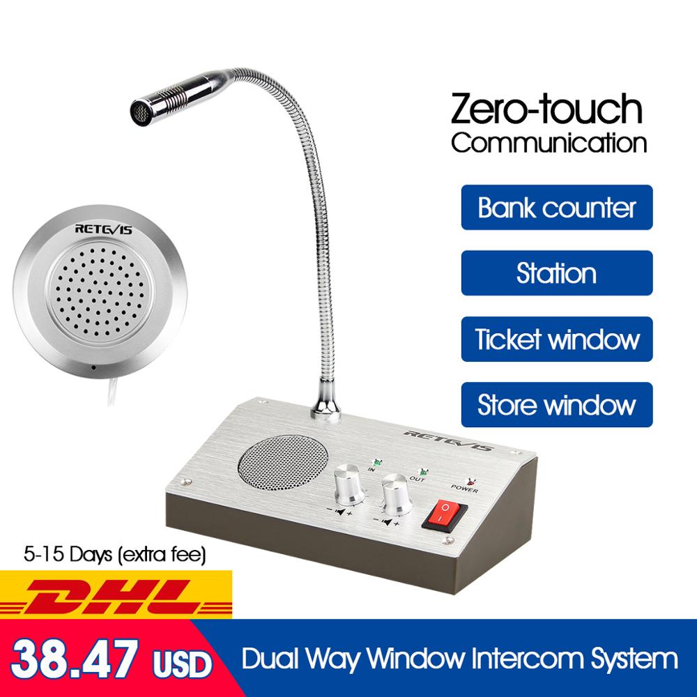 Retevis RT-9908 Dual Way Window Intercom System Bank Counter Interphone Zero-touch For Business Store Bank Station Ticket Window