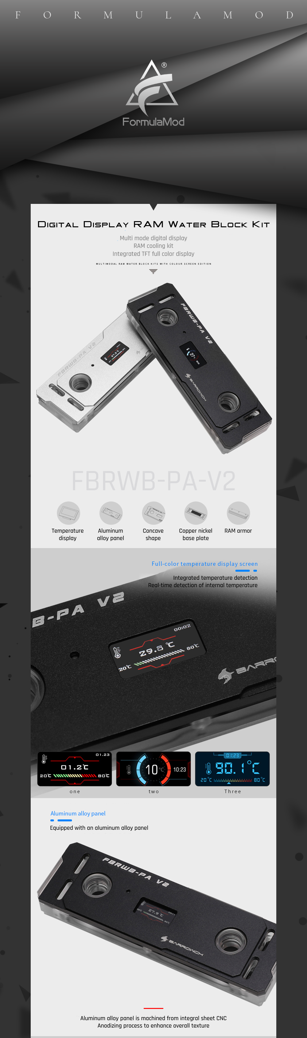 Barrowch FBRWB-PA-V2, RAM Water Blocks/Kits, LRC 2.0 (5v 3pin) Lighting, Standard With RAM Cooling Armors.